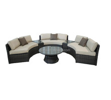 Hot sale outdoor furniture 6 piece wicker curved bench conversation set