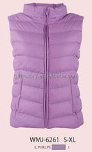 Glo-stroy Purple winter vest jacket without fur collar for women