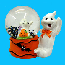 """Polyresin and Glass Halloween Water Globes 2.5"""" tall 2"""" Wide TWO GHOSTS"""