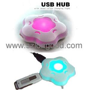 Colorful Flower Usb Hub Usb 2.0 4 Ports Hub With Led ...