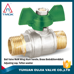 high quality forged CW617N brass ball valve 600 wog butterfly level handle brass ball valve with nipple