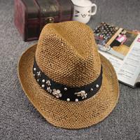 Summer styles holiday lady straw fedora hats women beach straw trilby hats (SU-SHH121)