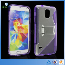 Classic Design S Curve Design Soft TPU+Hard Plastic Case For Samsung Galaxy S5 With Stand Holder