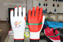 Marine Wholesale Industrial Latex Cotton Lined Long Hand Rubber Gloves