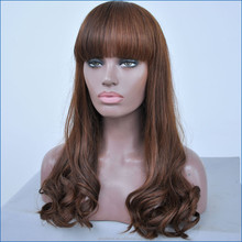 Brazilian Full Lace Human Hair wave Wigs, Glueless Lace Front Wig With Bang, Brazilian brown Body Wave Lace Wigs