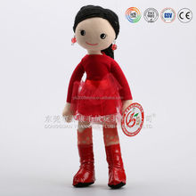 Soft fashion red girl doll plush doll making factory