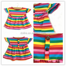 2015 New Fashion Brand Princess Girl Dress Rainbow Puffy sleeve Children Cotton Dress