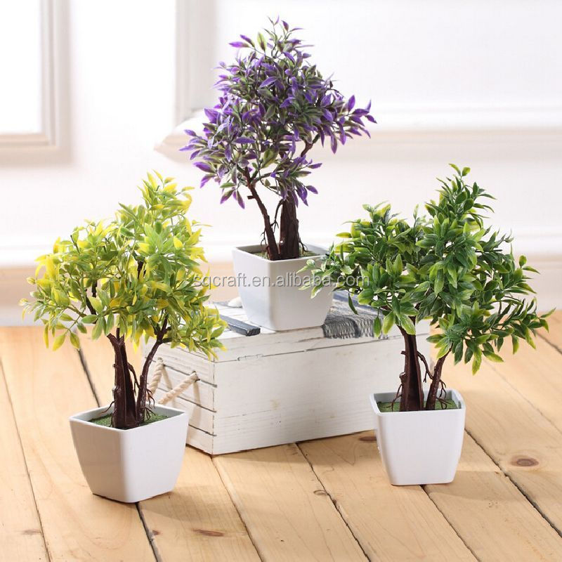Artificial Flowers Trees Ceramic Pot Small Potted Plant