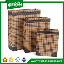 Classical 2015 new design best sell recycle plaid kraft paper gift bags