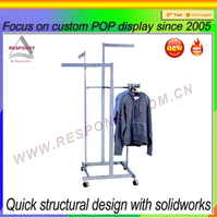 Metal hanging t shirt display sports clothes display stand