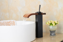 """12"""" Waterfall Glass Oil Rubbed Bronze Bathroom Faucet Vessel One Handle"""