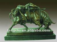 Classical Antique Style Bronze Myth Bull and Slave Sacrifice Sculpture TPM-015