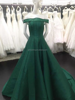 Green evening dress A-line boat neck beading lace up back with bow evening dress 15263