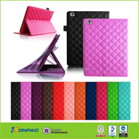 Quilted stand PU leather case for iPad