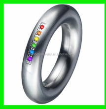 2015 hot selling fashion stainless steel gay pride wedding ring