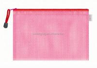 Eco-friendly custom mesh PVC document bag with zipper