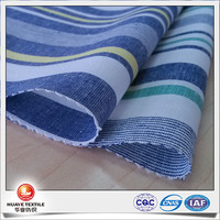high quality yarn dyed cotton linen navy blue and white stripe fabric