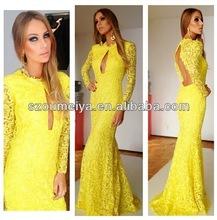 modesto de encaje amarillo espalda abierta manga larga vestido festa de de renda