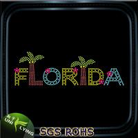 Colorful bling Florida tree rhinestone transfer