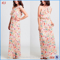 Top sell product one-shoulder crinkle floral chiffon printed fabric for side slit dress pictures semi formal dresses