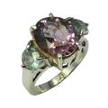 925 de plata de ley amatista& topacio azul anillo de piedra