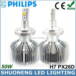 Adjustable Focus Length Philips 3000lm 25W 100% Original Chip H7 LED Powerful Head Light of Auto