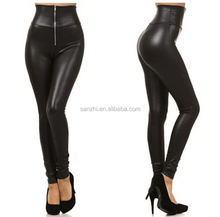 Fashion Sexy Stitching Stretchy Faux Leather Black Leggings Skinny Pants for Yong Girls