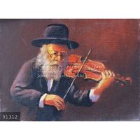 100% Handmade Classical Judaica Oil Painting Jewish Old Man Playing Violin #91312
