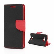 For HTC Butterfly case J X920D Mercury Fancy Diary Wallet Leather Stand skin (Black/Red)