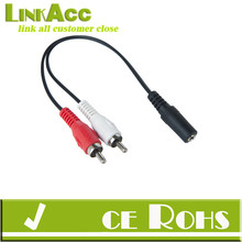 Linkacc12R2C 3.5mm stereo Female Jack to 2 Male RCA cable Converter