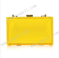 New Style Elegant Coloured Acrylic Hard Box Clutch Bag in high quality for evening party