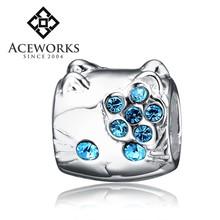 Wholesale Blue Zircon &Sterling Silver Beads (Cat) For Snake Bracelet