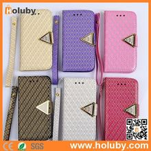 Grid Buckle Shining Diamond For iPhone 5 5S Case Leather, Mobile Phone Case for iPhone 5 5S / for Samsung Note 3 with Strap