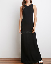 maxi evening gown with hallowed back and laced up closure sleeveless dress with slim cut