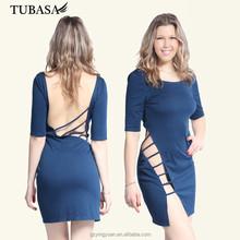2015 el más nuevo de lujo trajes de vestir corto atractivo del mini vestido, de corte y confección vestido