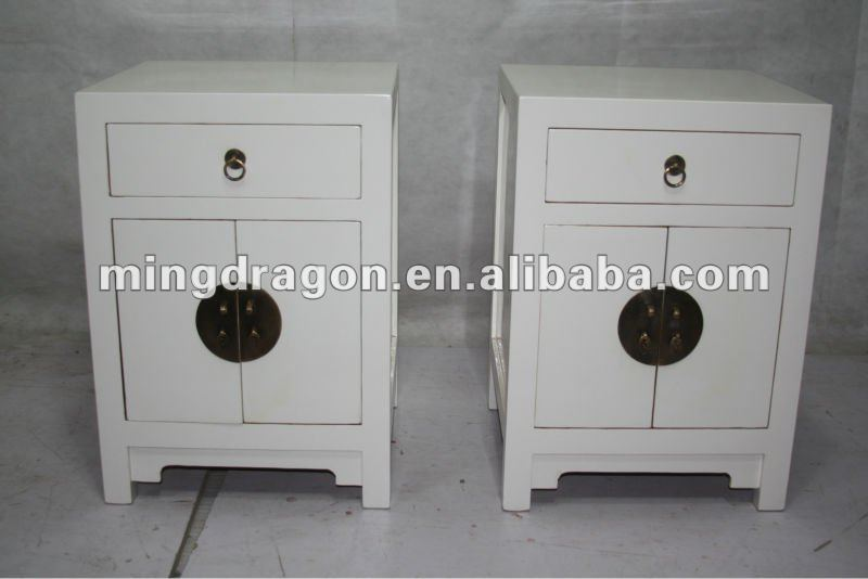 Chinois reproduction blanc chevet petite armoire meubles for Meuble cabinet chinois