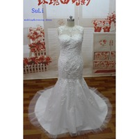 SG57 Sheer Wedding Dresses Mermaid Lace Applique Sleeveless Beads Crystal Floor Length Long Bridal Gown Best Selling The USA
