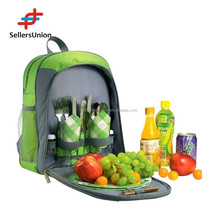 New products 2015 high quality 2person picnic shoulder bag, picnic backpack with tablewares and wine holder #PB05