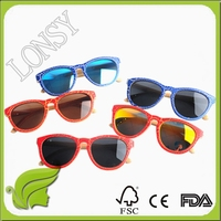 Custom Hand Mand Sun Eyeglass, UV400 Color Frame Bamboo Sunglasses