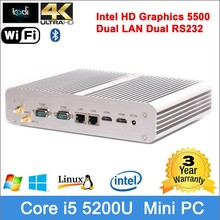 wholesale computer parts 4K HD intel Graphics dual HDMI resolution Dual RS232 mini pc x86 linux mini computer i5 are computer