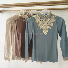 Stand collar long sleeve embroidery applique chiffon trim design women blouse