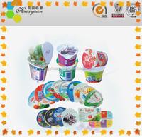 Aluminum Foil Lids Precut Embossed PP Lacquer For Plastic Yogurt Cups Sealing