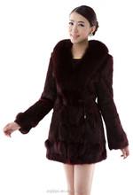 female popular Fashion Luxurious Factory Price Rabbit Fur Coat