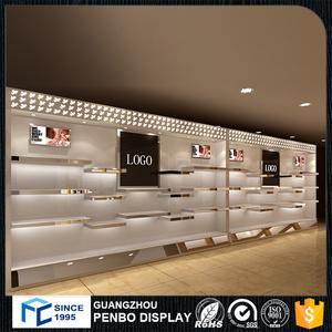 Özelleştirilmiş süper kalite metal ahşap cam duvar dağı perakende ayakkabı mağazası raf ekran raf showroom mobilya
