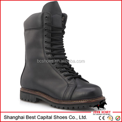 Rubber outsole and leather tongue military boots /old fashion boots/black long tongue with black speed shoes lace