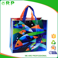 Multicolor series foldable color fish pp woven carrefour shopping bag