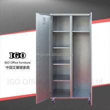 metal 2 door bedroom cupboards design with wheel/steel godrej cupboard