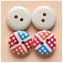 white dot printed wooden button for diy/garment