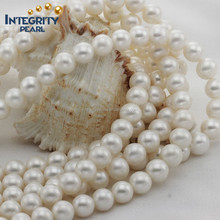 11-12mm round shape white color freshwater pearl string wholesale