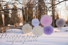 Lovely wedding hanging decoration colorful tulle pom pom ball/hanging tulle pompon for party decoration/decoration for christmas